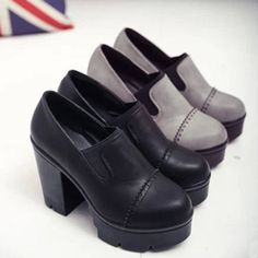 New-Vintage-Woman-Ankle-High-Platform-Shoes-Block-Heel-Pumps-Round-Toe-Creepers