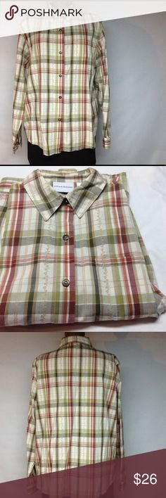 Multi color tan button up top Multi color tans button up collar top with pocket - 60% cotton 40% polyester- excellent condition never worn Alfred Dunner Tops Button Down Shirts