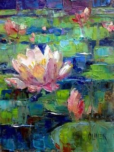 """Daily Paintworks - """"Waterlilies"""" - Original Fine Art for Sale - © Julie Ford Oliver Más Arte Floral, Lily Painting, Painting Art, Water Lilies Painting, Lilies Drawing, Monet Water Lilies, Contemporary Abstract Art, Art Abstrait, Abstract Flowers"""