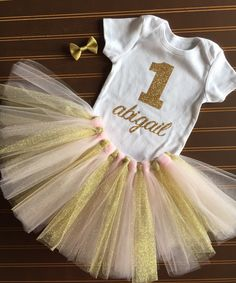 """Gold and pink First Birthday Tutu Set - Gold Onsie """"1"""" - Monogrammed 1st Birthday Outfit - blush pink and gold Baby Girl Tutu - Gold Glitter by MissyRooCouture on Etsy https://www.etsy.com/listing/223100926/gold-and-pink-first-birthday-tutu-set"""