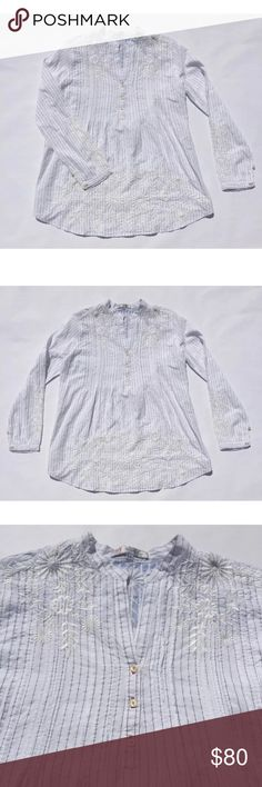 3J Workshop Johnny Was Embroidered Tunic Sz XS 3J Workshop Johnny Was Long SleeveTunic  Color: White with Blue Stripes and White Embroidery on front and back  Size: Extra Small  Approx Measurements:   - Length: 28 in   - Bust: 17.5 in   - Sleeves: 23.5 in Johnny Was Tops Tunics