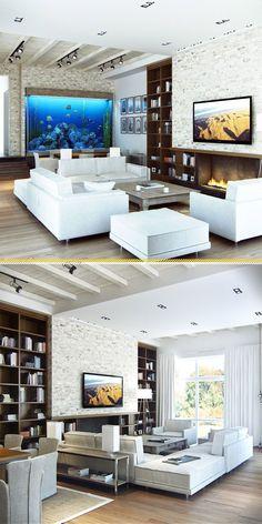 Particolare soggiorno con camino, tv ed un'ampio acquario. Pavimenti e soffitti in legno, rivestimento pareti in pietra