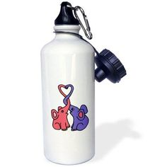 3dRose Cute Blue and Pink Elephants with Trunks Intertwined and Heart, Sports Water Bottle, 21oz
