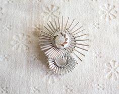 Vintage Scarf Clip, Silver Aluminu Starburst