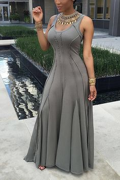 Grey maxi dress with metal jewlery detail Trendy Dresses, Sexy Dresses, Beautiful Dresses, Fashion Dresses, Summer Dresses, Casual Dresses, Fashion Mode, Girl Fashion, Womens Fashion