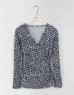 Long Sleeve Wrap Jersey Top WO097 Long Sleeved Tops at Boden