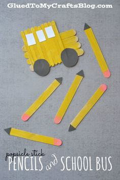 Popsicle Stick Pencils & School Bus Kid Craft! Create fun school bus crafts with your students using craft sticks, construction paper, and school glue. Perfect for the first week of school.