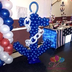Ahoy! It's A Boy Baby Shower. Nautical balloon anchor. #partywithballoons