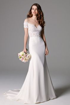 Sexy, off the shoulder, mermaid wedding gown in lace on illusion tulle, with gorgeous lace details on the back. SSweep Train.