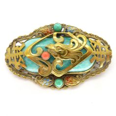 Vintage Art Deco Czech Neiger Dragon Peking Glass Enamel Pin Brooch | Clarice Jewellery | Vintage Costume Jewellery