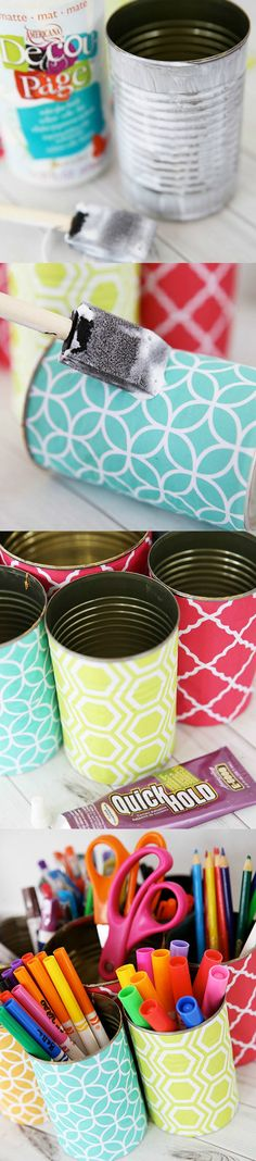 Create this recycled organizer to sort your supplies and add a pop of color to your room! Made with cans, decoupage medium, and your favorite papers.