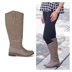 """In our most favorite boot color EVER, these """"greige"""" beauties match all your black and brown clothes. Read that again: you only need ONE PAIR of riding boots this season to go with EVERYTHING! Say what?! The Abigail Riding Boot (greige) Price $58.95, $5.00 Shipping Options: Size 5.5, Size 6, Size 6.5, Size 7, Size 7.5, Size 8, Size 8.5, Size 9, Size 10  1"""" stacked rubber heel, side zip, 17"""" shaft, vegan leather. Runs slightly narrow, not recommended for wider feet."""