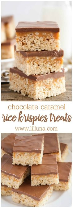 Delicious Chocolate Caramel Peanut Butter Rice Krispies Treats { http://lilluna.com } A layer of rice krispies, caramel, and melted chocolate chips with peanut butter.