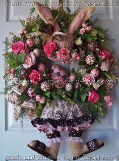 "MADE to ORDER - French Shabby Chic Easter Bunny ""DOTTIE"" with her Chocolate Eggs - Spring Summer Easter Wreath"