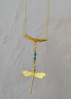 Dragonfly gold plated pendant, gold plated chain and tube connector pendant, light green Jade gemstone beads, gold plated dragonfly charm
