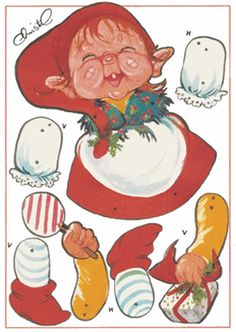 Danish illustrator Christel - Christmas Elf Jumping Jack