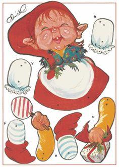 Danish illustrator Christel - Christmas Elf Jumping Jack