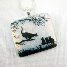 Cat and Kittens Fused Glass Necklace White Dichroic Glass Jewelry