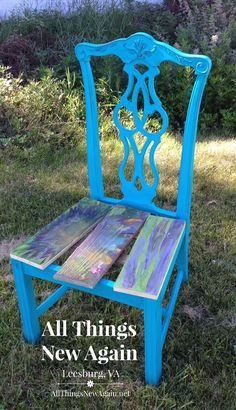 "Chair is painted with Real Milk Paint Company's ""Aqua."" The seats are stained with Unicorn Spit rainbow gel stain. www.AllThingsNewAgain.net"