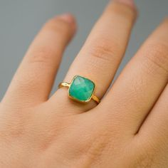 30 Off  Chrysoprase Ring with natural black inclusions by delezhen, $46.00