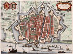 Stadsplattegrond van Gorkum (Gorinchem) in 1649 door Blaeu uitgegeven