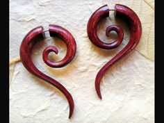 Wood Earrings - Sahara Spiral Tails L/Red Fake Gauges. $28.00, via Etsy. Shop is called TribalStyle.