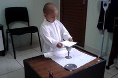 Rafael Freitas is a three-year-old boy in Brazil who loves to pretend to celebrate Mass. He says he wants to be Pope someday.