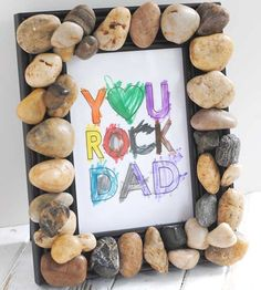Tell Dad just how awesome he is with this handmade Father's Day gift kids of all ages can make. Simply dress up a plain purchased frame with some rocks attached with a strong adhesive, and finish with a custom-colored message. Natalie of Katarina's Paperie even provides a free printable for the frame message on her blog.