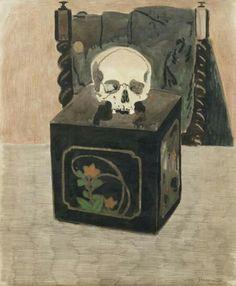 Vanitas  -  Léon Spilliaert 1917  Belgian, 1881-1946  Gouache, pencil and graphite on paper, 74.5 x 61.5 cm.
