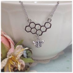 Honeycomb Necklace, Bee Necklace, Honeycomb, Bumblebee, Honeybee, Nature Jewellery, Gift for Her, Gift Ideas, Bees, Necklaces, Ella Rose, by JewelleryByEllaRose on Etsy https://www.etsy.com/uk/listing/472975993/honeycomb-necklace-bee-necklace