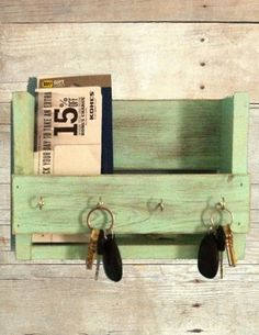 a15a4634117 Rustic key holder mail organizer aqua key holder reclaimed