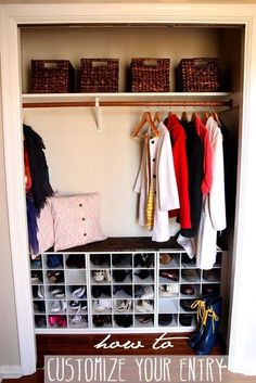 An organized coat closet with plenty of shoe storage is a great way to keep your entry organized!