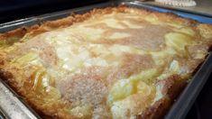 Gooey butter peach cobbler #cobbler #cream-cheese #peach #peaches #butter cake #Gooey butter #Creeping crust #justapinchrecipes Just Desserts, Delicious Desserts, Dessert Recipes, Baking Desserts, Fruit Recipes, Pie Recipes, Recipies, Gooey Butter Cake, Butter Cakes