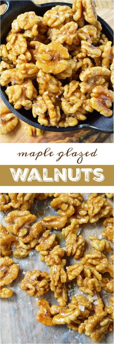 This Easy Maple Glazed Walnuts Recipe requires just 2 ingredients and couldn't get much more simple! These walnuts are lightly sweetened the natural way with pure maple syrup. Just bake, cool and enjo (Cool Desserts Healthy)