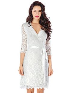 LookbookStore Women s Lace 3 4 Sleeves Mother Of The Bride Cocktail Wrap  Dress at Amazon Women s Clothing store  5963ef746