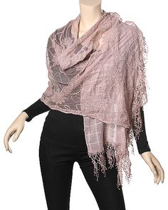 Polyester Cotton Scarf w/ Lace / PINK