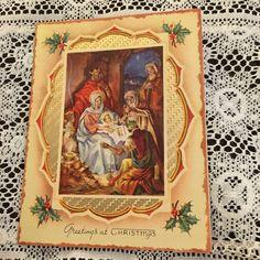 Vintage Greeting Card Christmas Nativity Family Baby Jesus Religious