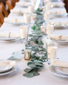 Wedding decor always amazes me how much work and love and thought couples put in to give their family and friends a special day. I love this delicate table scape. Long Table Wedding, Wedding Table Flowers, Wedding Table Decorations, Flower Decorations, Simple Wedding Centerpieces, Eucalyptus Centerpiece, Eucalyptus Wedding, Branch Centerpieces, Dream Wedding