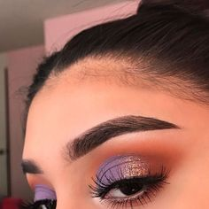 Purple and warm shadows with gold glitter