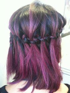 Waterfall braid on short hair work by #JoLsalon