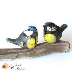***DISPO A PARTIR DU 12/11***  Couple de Mésanges (bleue et charbonnière) en céramique RAKU, Taille : environ 5.5 X 4.5 cm par oiseau, Modelées et émaillées à la main Po - 2846089