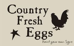 STENCIL Country Fresh Eggs Star Primitive Rooster Chicken Farm Market Signs picclick.com