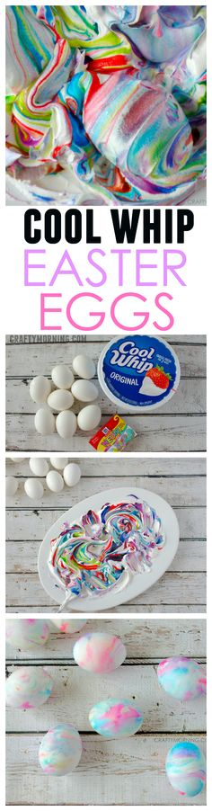 Cool whip dyed Easter eggs is so fun and taste safe for the little kids! Perfect egg dying craft activity.