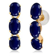 330 Ct Oval Blue Sapphire 14K Yellow Gold Earrings *** You can get additional details at the image link.-It is an affiliate link to Amazon.