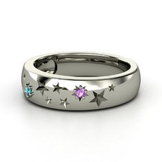 Round Amethyst Sterling Silver Ring with London Blue Topaz