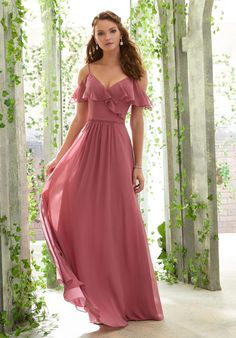 Mori Lee Chiffon Bridesmaid Dress Featuring a Ruffled V-Neckline and Cold Shoulder Sleeves. Chiffon Bridesmaid Dress Featuring a Ruffled V-Neckline and Cold Shoulder Sleeves. Mori Lee Bridesmaid Dresses, Prom Dresses, Wedding Dresses, Bride Dresses, Fitted Dresses, Long Dresses, Wedding Bridesmaids, Bridal Gowns, Dress Outfits