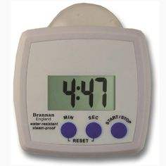 Water resistant and steam proof timer with stand clip and suction cup fixture. This timer is water resistant to IP64.