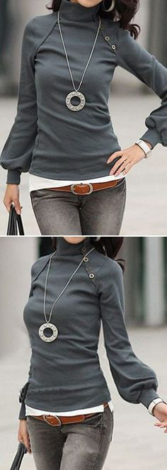 Dark Grey High Neck Lantern Sleeve Blouse