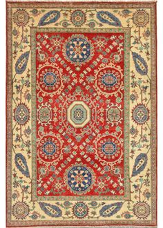 """Kazak 4'-11"""" x 6'-10"""" No.105074 Decor, Carpet, Knotted Rugs, Home Decor, Rugs, Rugs And Carpet"""