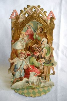 Antique Victorian Mechanical Nativity Christmas Card